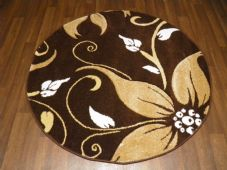 MODERN NEW 120X120CM CIRCLES RUGS WOVEN BACK HAND CARVED BROWN/BEIGE LILY LOVLEY